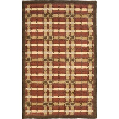 Colorweave Plaid Hand-Tufted Rust Area Rug Rug Size: 96 x 136