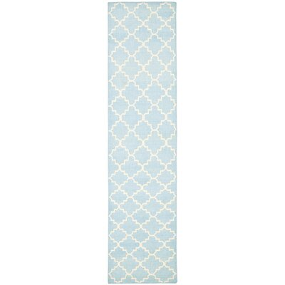 Danbury Hand-Woven Wool Light Blue/Ivory Area Rug Rug Size: Runner 26 x 10