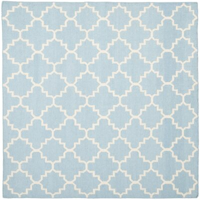 Danbury Hand-Woven Wool Light Blue/Ivory Area Rug Rug Size: Square 6