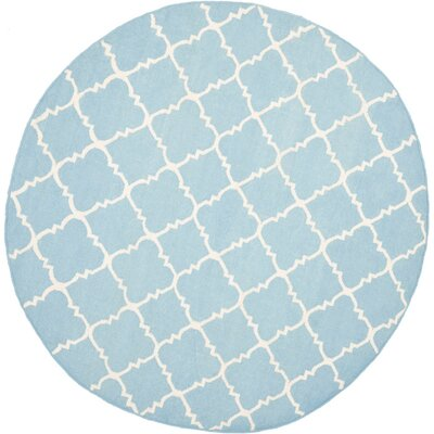 Danbury Hand-Woven Wool Light Blue/Ivory Area Rug Rug Size: Round 8