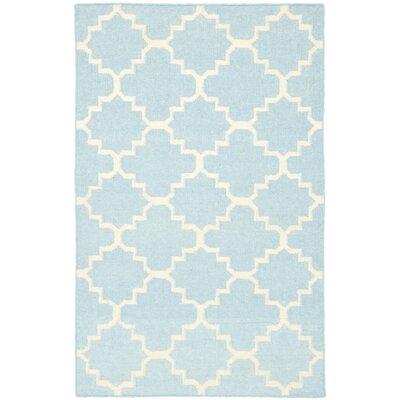 Danbury Hand-Woven Wool Light Blue/Ivory Area Rug Rug Size: Rectangle 3 x 5
