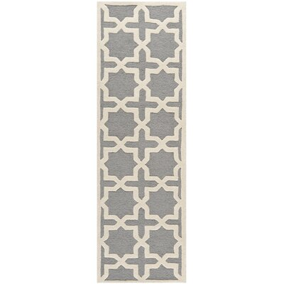 Cherry Hill Hand-Tufted Gray/Ivory Area Rug Rug Size: Runner 26 x 18