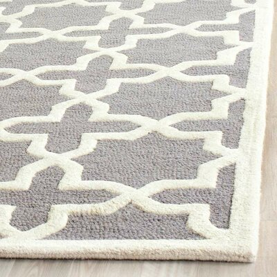 Cherry Hill Hand-Tufted Silver/Ivory Area Rug Rug Size: 10 x 14