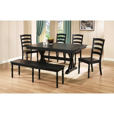 Courtdale Ladder Back Solid Wood Dining Chair (Set of 2) Finish: Ebony