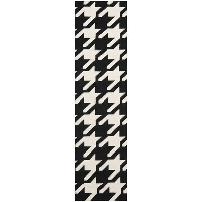 Rodgers Hand-Woven Wool Black/Ivory Area Rug Rug Size: Runner 2'6