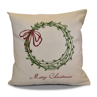 Decorative Holiday Word Print Outdoor Throw Pillow Size: 16 H x 16 W, Color: Green
