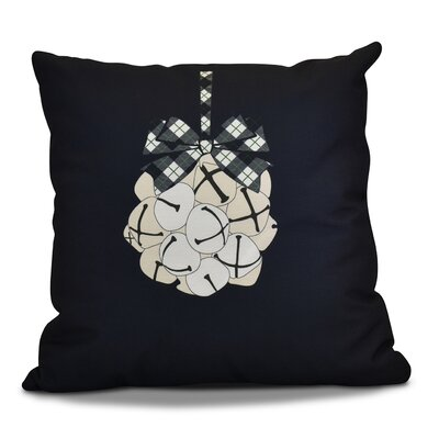 Holiday Jingle Bells Outdoor Throw Pillow Color: Navy Blue, Size: 20 H x 20 W