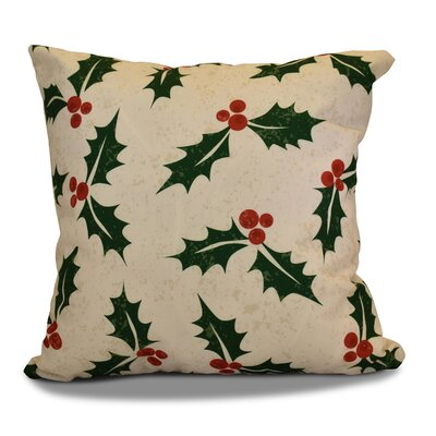Allover Holly Throw Pillow Size: 16 H x 16 W, Color: Cream