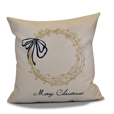 Decorative Holiday Word Print Outdoor Throw Pillow Size: 16 H x 16 W, Color: Taupe