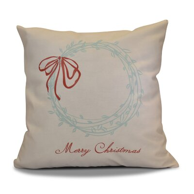 Decorative Holiday Word Print Outdoor Throw Pillow Color: Aqua, Size: 18 H x 18 W