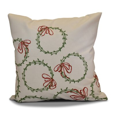 Holiday Simple Wreath Outdoor Throw Pillow Size: 18 H x 18 W, Color: Green
