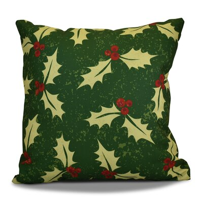 Decorative Holiday Floral Print Outdoor Throw Pillow Size: 20 H x 20 W, Color: Green