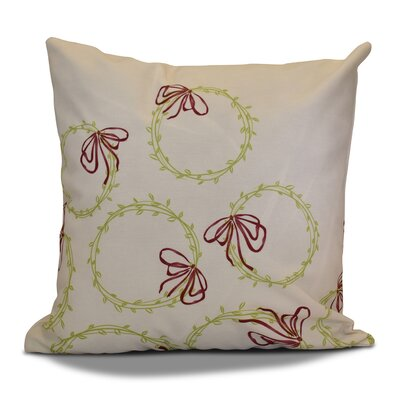 Holiday Simple Wreath Outdoor Throw Pillow Size: 16 H x 16 W, Color: Light Green