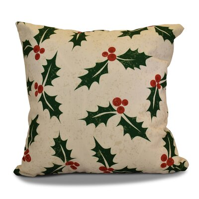 Decorative Holiday Floral Print Outdoor Throw Pillow Size: 16 H x 16 W, Color: Cream