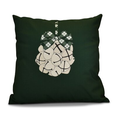 Jingle Bells Throw Pillow Size: 26 H x 26 W, Color: Dark Green