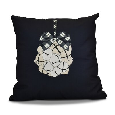 Jingle Bells Throw Pillow Size: 26 H x 26 W, Color: Navy Blue