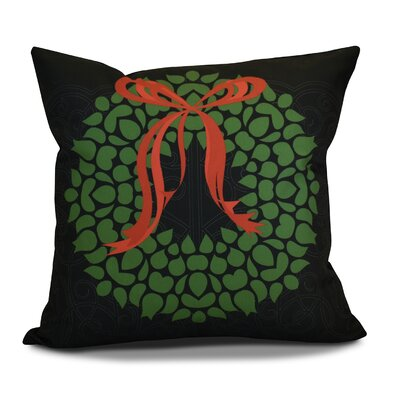 Decorative Holiday Floral Print Outdoor Throw Pillow Size: 18 H x 18 W, Color: Black