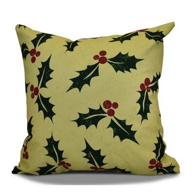 Allover Holly Throw Pillow Color: Green, Size: 18 H x 18 W