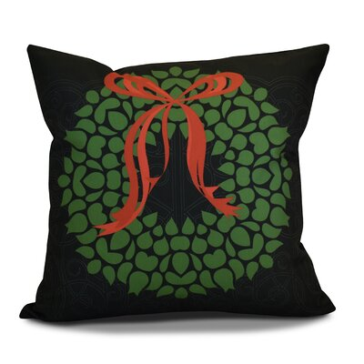 Decorative Holiday Throw Pillow Color: Black / Green, Size: 18