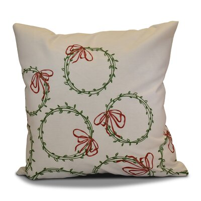 Holiday Simple Wreath Throw Pillow Color: Green, Size: 26 H x 26 W