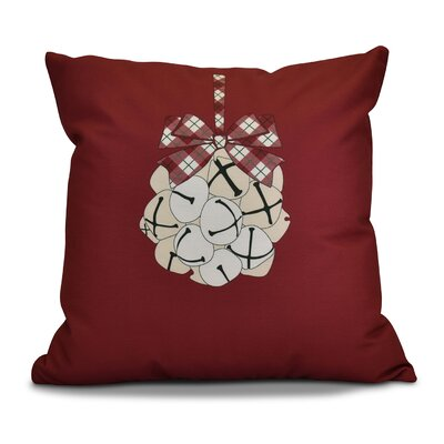 Jingle Bells Throw Pillow Color: Cranberry, Size: 26 H x 26 W