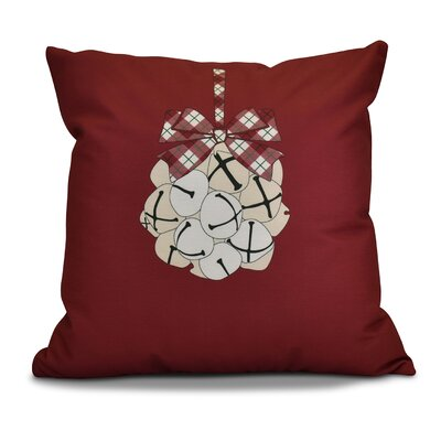 Holiday Jingle Bells Outdoor Throw Pillow Size: 18 H x 18 W, Color: Cranberry
