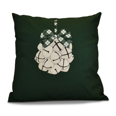 Holiday Jingle Bells Outdoor Throw Pillow Size: 18 H x 18 W, Color: Dark Green
