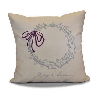 Decorative Holiday Word Print Outdoor Throw Pillow Size: 18 H x 18 W, Color: Gray