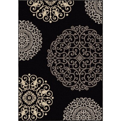 Abbey Glen Black Area Rug Rug Size: 53 x 76