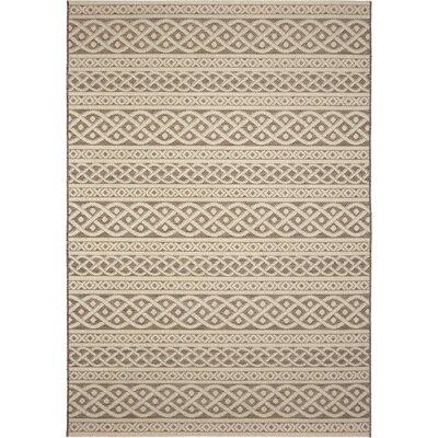Acton Tan/Ivory Indoor/Outdoor Area Rug Rug Size: 77 x 1010