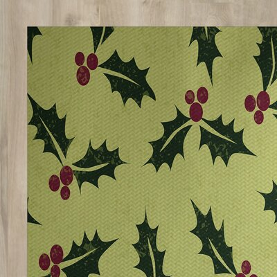 All Over Holly Floral Print Green Indoor/Outdoor Holiday Area Rug Rug Size: Rectangle 2 x 3