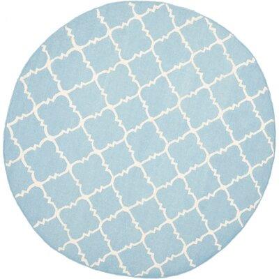 Danbury Light Blue & Ivory Area Rug Rug Size: Round 8