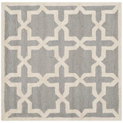 Cherry Hill Hand-Tufted Silver/Ivory Area Rug Rug Size: Square 4