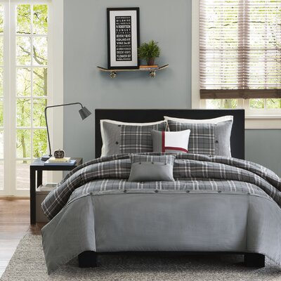 Sand Lake Duvet Set Size: Full / Queen, Color: Gray