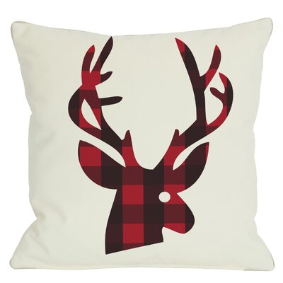 Holiday Plaid Reindeer Throw Pillow Size: 26 H x 26 W