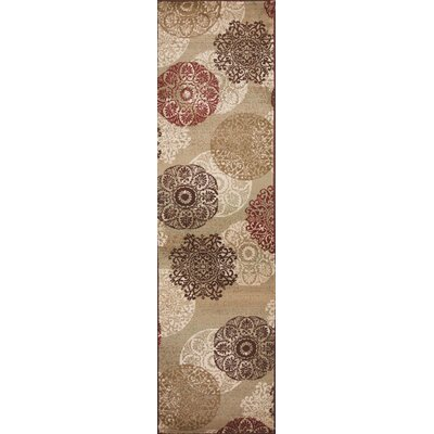 Winterberry Beige/Brown/Red Area Rug Rug Size: Runner 22 x 711