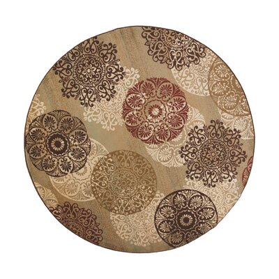 Winterberry Beige/Brown/Red Area Rug Rug Size: Round 77