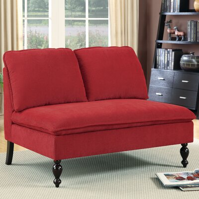 Parkes Contemporary Settee Upholstery Color: Red
