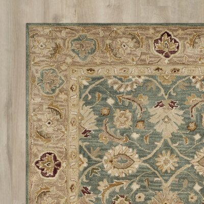 Ashville Hand-Tufted Teal Blue / Taupe Area Rug