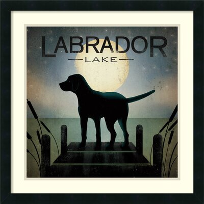 Moonrise Black Dog - Labrador Lake Framed Graphic Art