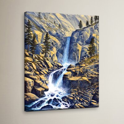 Wilderness Waterfall Painting Print on Wrapped Canvas