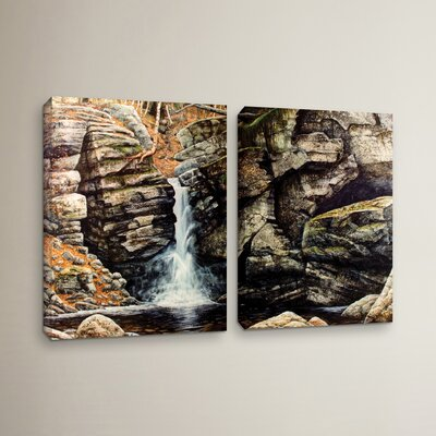 Woodland Falls 2 Piece Photographic Print on Wrapped Canvas Set