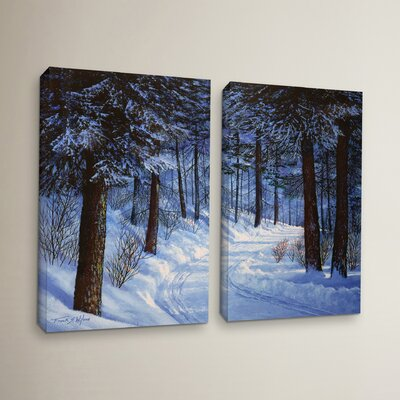 Forest Road 2 Piece Painting Print on Wrapped Canvas Set