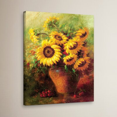 Maria's Sunflowers Print Wrapped on Canvas Size: 18