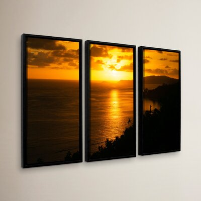 Pacific Sunrise Over Kilauea Lighthouse 3 Piece Framed Photographic Print on Canvas Set