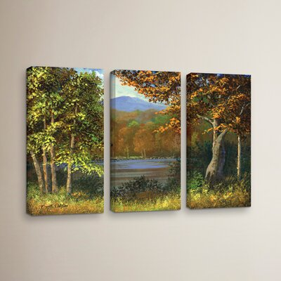 Mountain Pond 3 Piece Painting Print on Wrapped Canvas Set