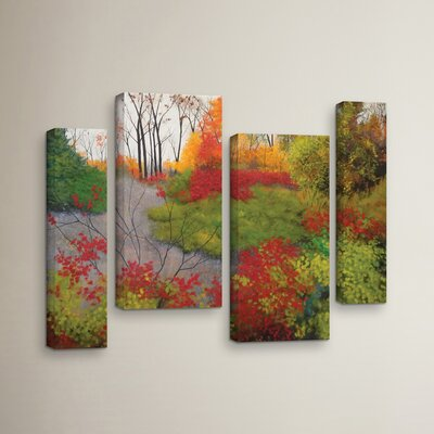 Red Leaves 4 Piece Painting Print on Wrapped Canvas Set
