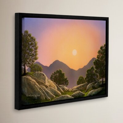 Glowing Landscape Framed Painting Print on Wrapped Canvas