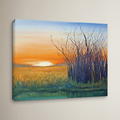 Riverside Sunset Painting Print on Wrapped Canvas Size: 14