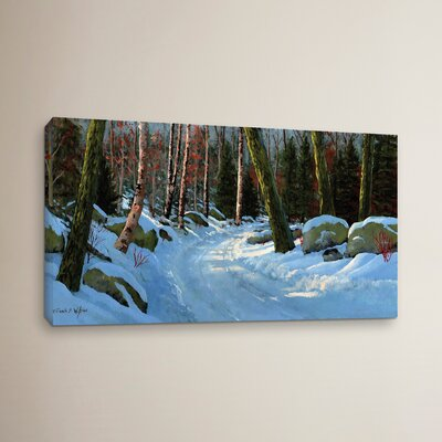 Winter Road Painting Print on Wrapped Canvas
